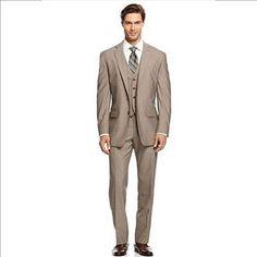 Calvin Klein Men's Tan Stripes Suit, Size 42R/36W-29L, Retail $650 | Property Room