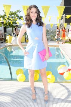 Emmy Rossum in Kate Spade paired with Jimmy Choo pumps attends the Kate Spade Saturday Summer Solstice Party, #bestdressed
