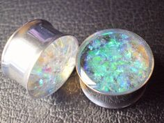 Plugs Girly Sparkly Iridescent Gauges Blue Pink by HandmadeAt62