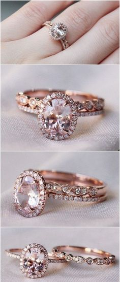 Rose Gold Halo Engagement Ring #WeddingRing