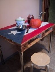 Dishfunctional Designs: God Save The Pallet! Reclaimed Pallets Revamped  Well, I'm no Texan, pilgrim, but I'd  say all state flag and banners would be a welcome sight to behold...