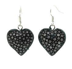 $16.50 Black Stingray Heart Earrings
