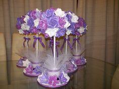 centros de mesa con flores de goma eva - Buscar con Google