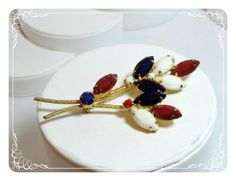 Red White Blue Vintage Bouquet Brooch - Patriotic Pin   1587a-052112000