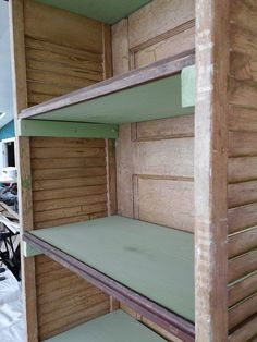 Shoe cabinet made from old 5 panel door and louvered closet doors.