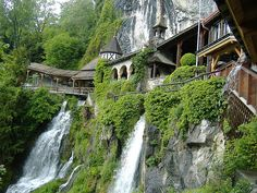 """This is just down the road from the town where I was married. It really encapsulates all of the things that I love about gardening, nature, architecture and place - Interlaken Street, Interlaken Switzerland """"St. Beatus"""" by howgraph2, via Flickr"""