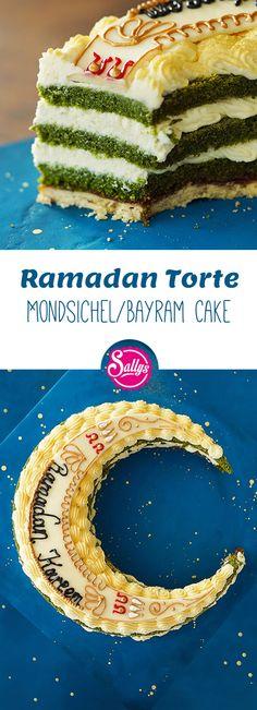 Diese Ramadan Torte ist ein Naked Cake mit einem Spinatteig, einer Vanillecreme und einer Dekoration aus Modellierschokolade. Ramadan Kareem!
