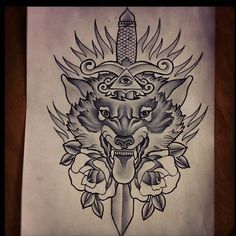Grey Ink Dagger And Wolf Tattoo Design