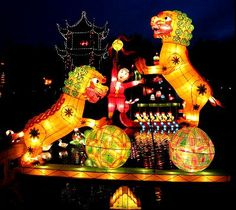 These are a couple of the Chinese Lanterns. In this picture the Chinese people made these lanterns. And in the night these glow up to make the night look nice. Montreal Botanical Garden, Botanical Gardens, Gardens Of The World, Gothic Halloween, Chinese Garden, Museum Shop, Chinese Lanterns, Montreal Canada, Topiary