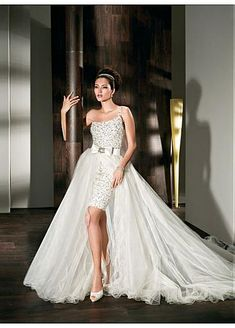 Gorgeous Tulle & Satin A-line One Shoulder Natural Waist 2 In 1 Wedding Dress