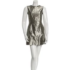 Pre-owned McQ by Alexander McQueen Metallic Cocktail Dress (125 CAD) ❤ liked on Polyvore featuring dresses, gold, white metallic dress, gold dress, preowned dresses, gold metallic cocktail dress and white cocktail dresses