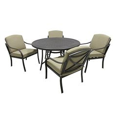 Outdoor Innovation Lido Aluminum 5 Piece Patio Dining Set ** Click image to review more details.(This is an Amazon affiliate link and I receive a commission for the sales)