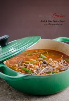 Try this Korean style beef and bean sprout soup as a comfort food with a bowl of rice. Step by step photographed tutorial follows.