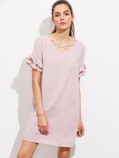 5b05f3d8f45 Shop Crisscross Neck Layered Frill Sleeve Dress online. SheIn offers  Crisscross Neck Layered Frill Sleeve