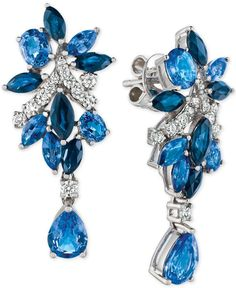 Le Vian Precious Collection Sapphire (5-1/5 ct. t.w.) and Diamond (3/8 ct. t.w.) Drop Earrings in 14k White Gold, Only at Macy's