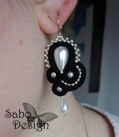 ADELE soutache earrings handmade embroidered in by SaboDesign.