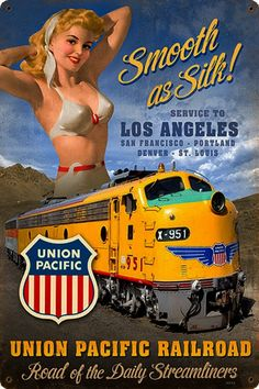 Pin-Up Girls - Railroad : chessie-system-chesaapeake-ohio-railroad-pinup-pin-up-girl-trains Pacific Union, Union Pacific Railroad, Jean Harlow, Dita Von Teese, Girl Train, Ad Of The World, Pin Up Posters, Woodland Party, Pin Up Art