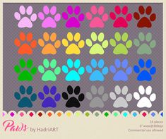 Paw Print Clip Art Rainbow Color Paws PNGs Printable by HadriART