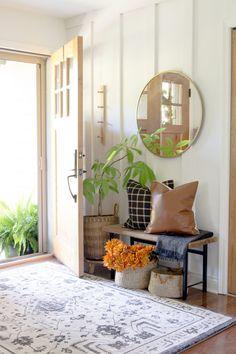 Small Entryway Bench, Fall Entryway Decor, Narrow Entryway, Fall Home Decor, Autumn Home, Cheap Home Decor, Narrow Bench, Modern Farmhouse Bedroom, Farmhouse Design