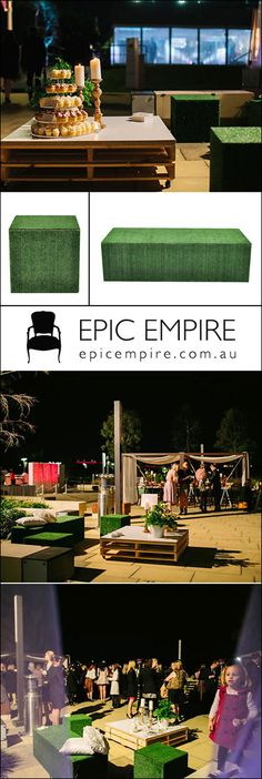 Grass Cube and Rectangular Ottoman for an outdoor botanical theme. These natural. Grass Cube and R Marquee Events, Crate Table, Dry Bars, Sitting Area, Wooden Furniture, Crates, Cube, Ottoman, Reception