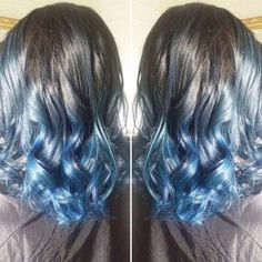 Blue Ombre and Balayage Hair Color, blue highlights
