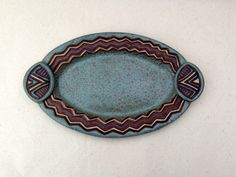 Hand Built D'OEUVRES DISH  Carved Pottery  Oval  by KittingerClay