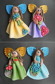 Angel from salt dough. Clay Angel, Fimo Clay, Polymer Clay Projects, Paper Clay, Clay Art, Christmas Angels, Christmas Crafts, Homemade Christmas, Christmas Tree