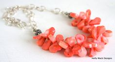 Coral+Necklace+with+Sterling+Silver+Bali+Beads+by+HollyMackDesigns,+$179.00
