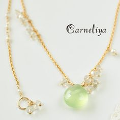 Prehnite and moonstone delicate gold necklace, via Carneliya