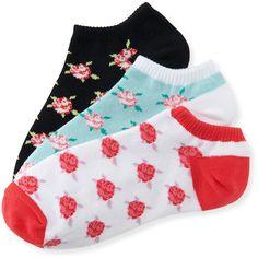 Aeropostale 3-Pack Roses Ankle Socks ($5) ❤ liked on Polyvore featuring intimates, hosiery, socks, bleach, aéropostale, low cut ankle socks, low cut socks, tennis socks and cotton ankle socks