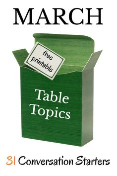 31 conversation starters to get your kids talking at the dinner table.  This month's free table topics are all about naming things when given a category.  A fun family activity.