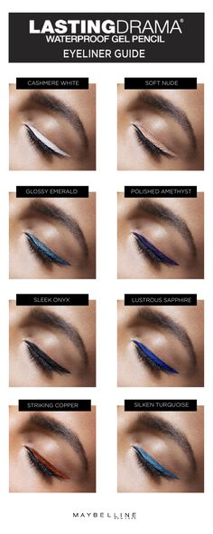 The ultimate winged eyeliner guide to get you through all your holiday parties this season! Add some color to your winged eyeliner with 5 new shades of Lasting Drama Waterproof Gel Pencil! Getting that perfect wing has never been so easy and so bold with the help of this Maybelline eyeliner makeup guide. Sometimes all you need is a pop of color from nudes to metallics to bold colors on your eyes.