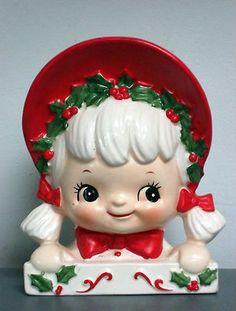 Vintage 1950's Lefton Christmas Girl Head Vase/Planter #2897 | eBay
