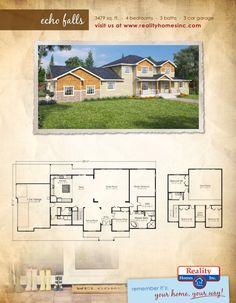 Reality Homes Oregon This floor plan is perfect! 4 bedroom, 3 bathroom, and 3 car garage floor plan. Custom Built Homes, Custom Home Builders, Garage Floor Plans, House Plans, 3 Car Garage, Home Inc, Idaho, Square Feet, Oregon