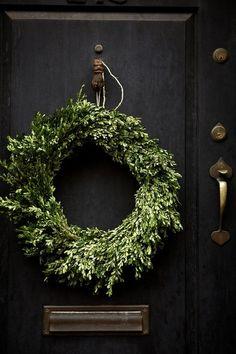 black door & simple green wreath