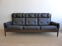 Black Leather Sofa by Peem in Finland by DenMobler on Etsy