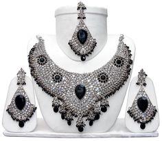 Buy Jewellery for Bride Online S103 Silver Tone Black Kumari Jewellery Necklace