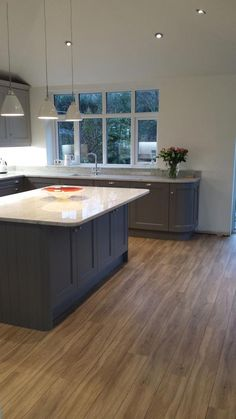 Kitchen units painted in Farrow and Ball Moles breath on base units and Purbeck stone at the top. Open Plan Kitchen Diner, Kitchen Diner Extension, Open Plan Kitchen Living Room, Kitchen Family Rooms, Home Decor Kitchen, New Kitchen, Kitchen Modern, Vintage Kitchen, Kitchen Ideas