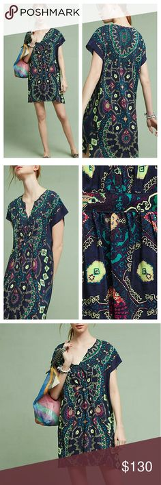 """(Anthropologie) Medallion Silk Dress By; Maeve  Retail $168 Size; Med  Silk; rayon lining Pullover styling Hand wash Imported  Style No. 4130580813096  Dimensions  Regular falls 35"""" from shoulder  Model Notes  Model is 5'10"""" Anthropologie Dresses Mini"""