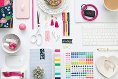 flat lay with colorful office supplies, photographed by jamie bannon photography. Creative Portrait Photography, Flat Lay Photography, Headshot Photography, Creative Portraits, Photography Branding, Lifestyle Photography, Art Photography, Atelier Photo, Flat Lay Photos