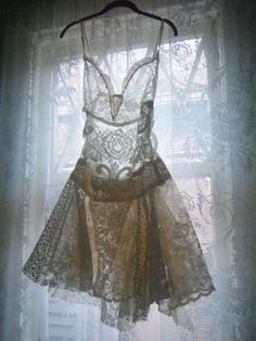 WOW! Lace dress made from vintage curtains by Light Synchronies
