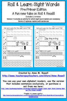 A fun new take on the Roll & Read! Students practice and learn sight words in multiple ways for better retention.
