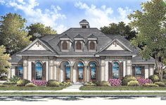 A Touch of Europe - 55055BR | 1st Floor Master Suite, CAD Available, Corner Lot, Den-Office-Library-Study, European, MBR Sitting Area, PDF, Photo Gallery, Southern, Split Bedrooms | Architectural Designs