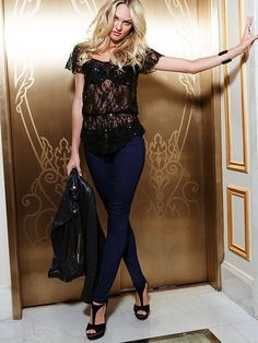 VS Siren Low Rise Skinny Jean and Lace Peplum Top - Can't decide if I want the top in red or black.