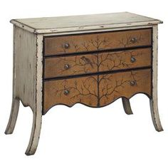 Three-drawer wood chest with a weathered finish. Drawers are textured with a tree motif.     Product: ChestConstruction Material: WoodColor: NaturalFeatures: Three drawersDimensions: 32 H x 40 W x 18 D