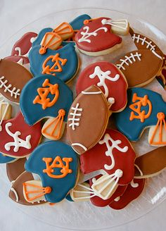 Auburn & Alabama cookies - perfect for Iron bowl parties!!