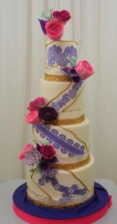 Púrpura y rosa pastel de bodas por tamra