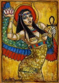 Isis, Egyptian goddess of life and fertility who even managed to bring her husband back from the dead. In one hand she holds the ankh, in the other a lotus. Behind her head (rather than on it) is her crown in the shape of the heiroglyph for 'throne', symbolising her royalty. By Bohemian Weasel aka Soni Alcorn-Hender. #BohemianWeasel