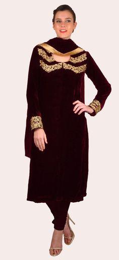 Reddish Maroon Pure Silk Velvet Tilla Work Suit With Dupatta