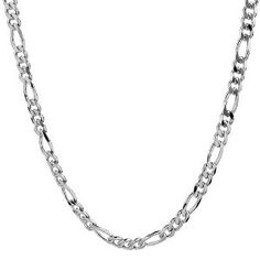 This handsome sterling silver Figaro chain necklace is crafted out of cool & gleaming silver in the classic Figaro style. It oozes masculinity.      The uncompromising quality associated with Italian jewelers is incorporated in this chain for its bold & elegant look. The reliable lobster clasp inspires confidence that the necklace is secure on your neck.      The chain is available in a variety of lengths. Choose this necklace and stand out in a crowd.